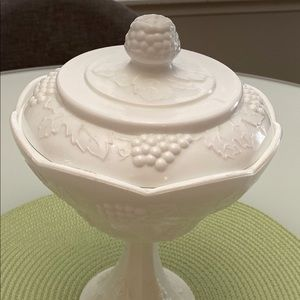 Other - Vintage Grapes & Leaves Milk Glass Candy Dish Lid